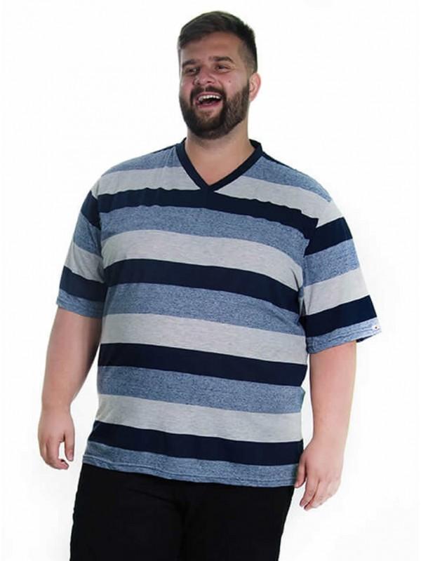 Camiseta Listrada Decote V Plus Size Marinho