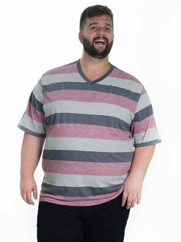 Camiseta Listrada Dec V Plus Size Rosa