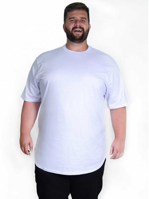 Camiseta Plus Size LongLine Básica Branca