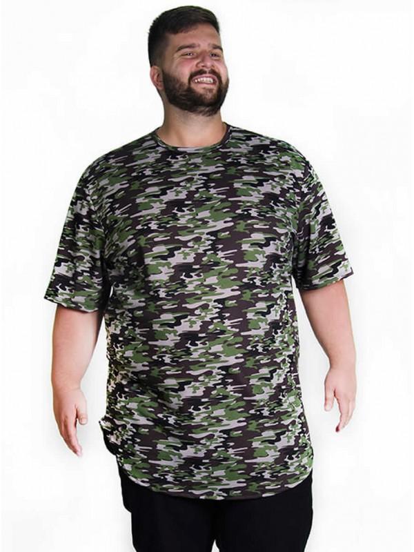Camiseta Plus Size LongLine Camuflada