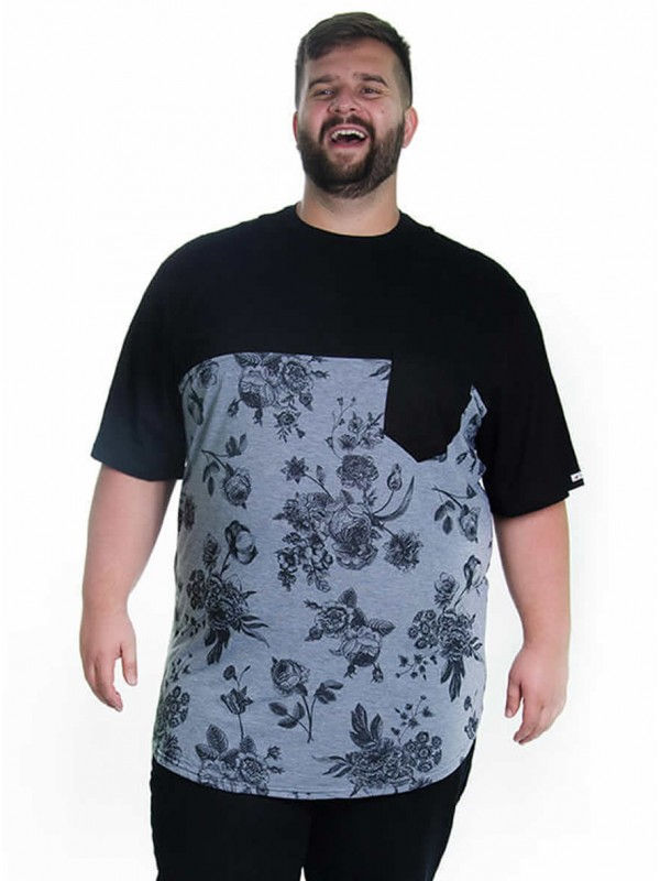 Camiseta Plus Size LongLine Recorte Preto Floral Mescla