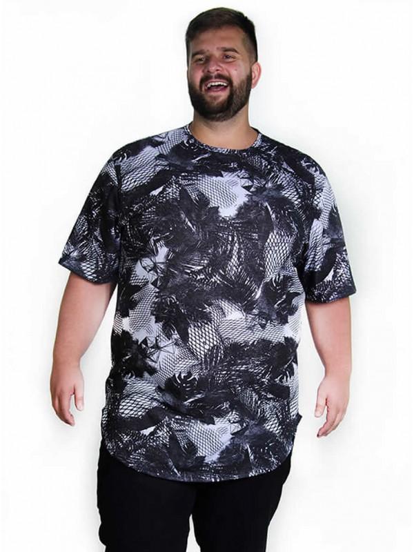 Camiseta Plus Size LongLine Floral Preta