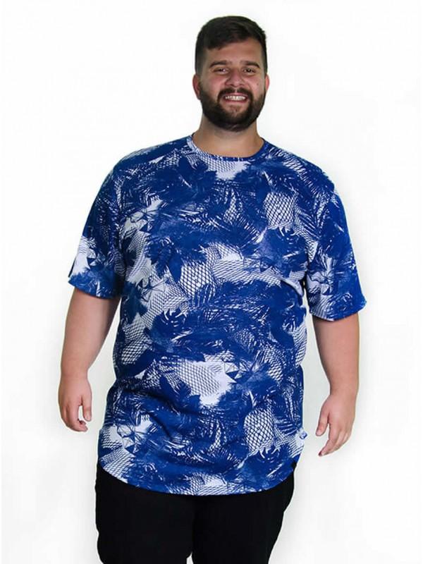 Camiseta Plus Size LongLine Floral Royal
