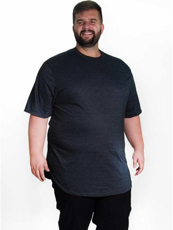 Camiseta Plus Size LongLine Básica Grafite