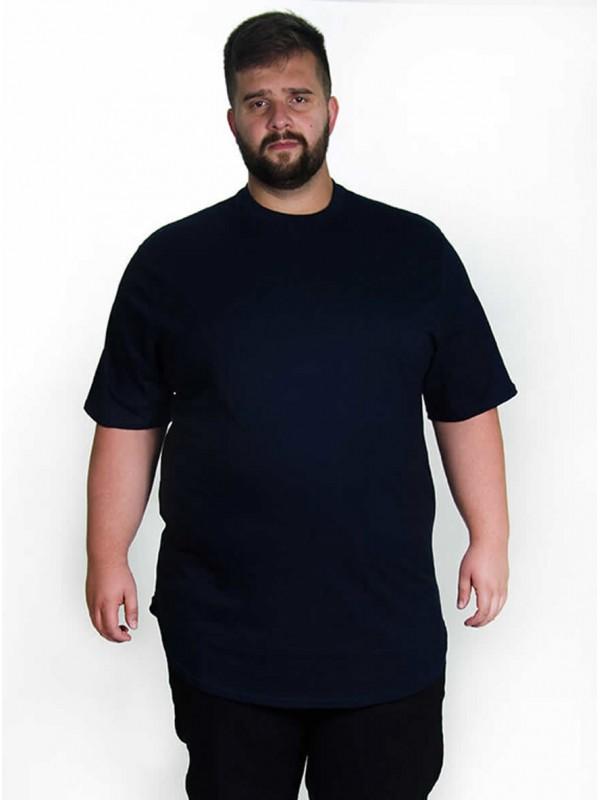 Camiseta Plus Size LongLine Básica Marinho