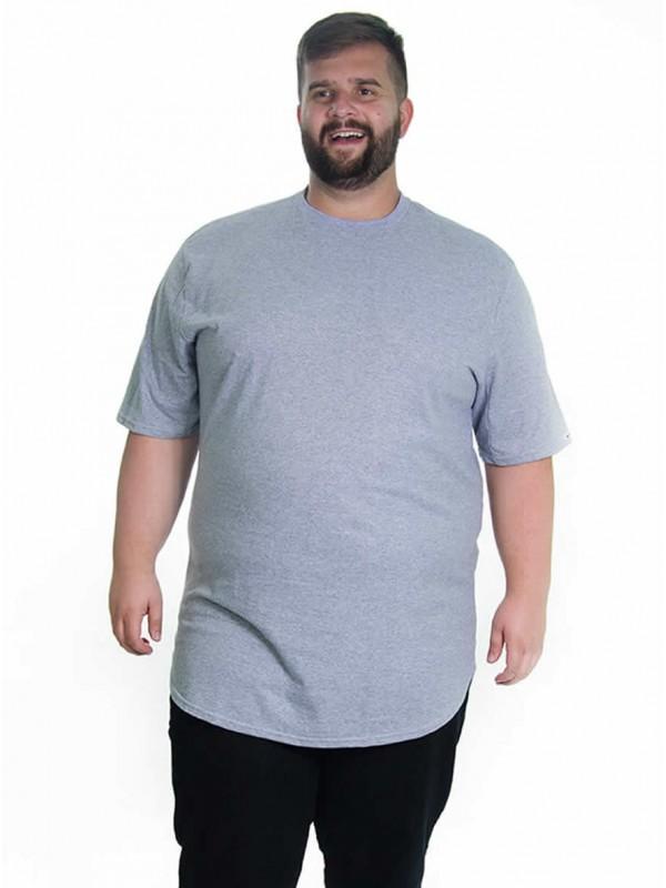 Camiseta Plus Size LongLine Básica Mescla