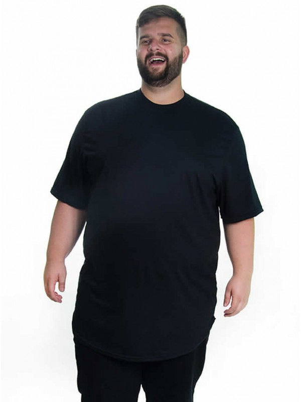 Camiseta Plus Size LongLine Básica Preta