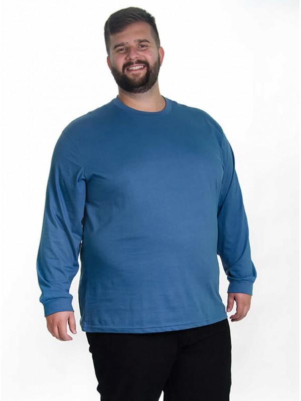 Camiseta Manga Longa Plus Size cor Jeans
