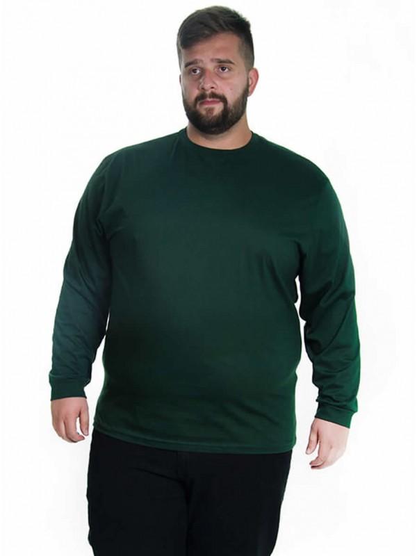 Camiseta Manga Longa Plus Size cor Militar