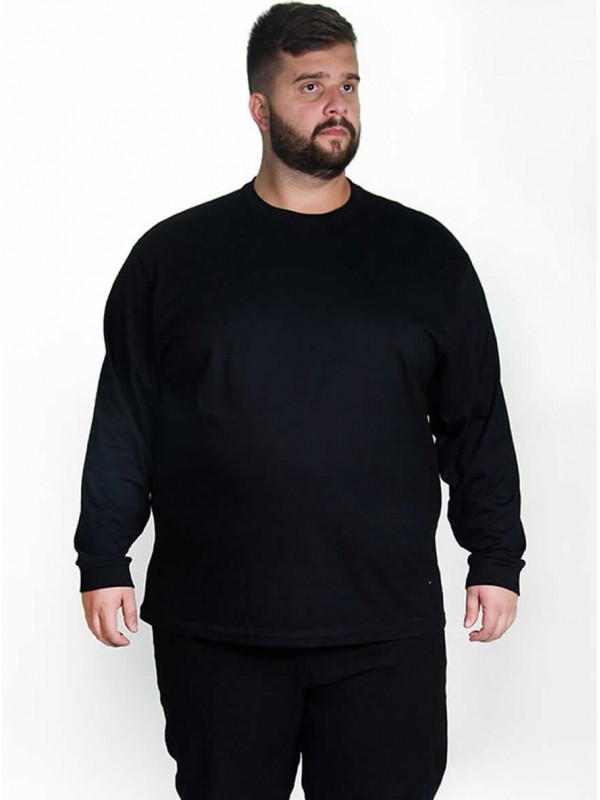 Camiseta Manga Longa Plus Size cor Preta