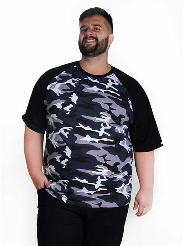 Camiseta Raglan  Camuflada Plus Size