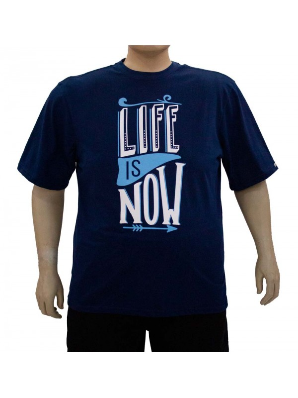 Camiseta Plus Size Life is Now Marinho