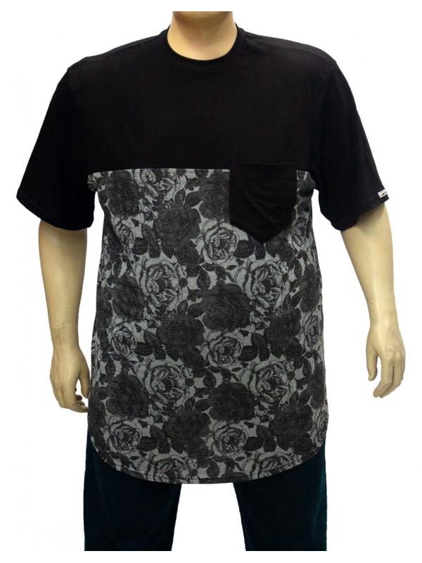 Camiseta Plus Size LongLine Recorte Preto Floral Preto