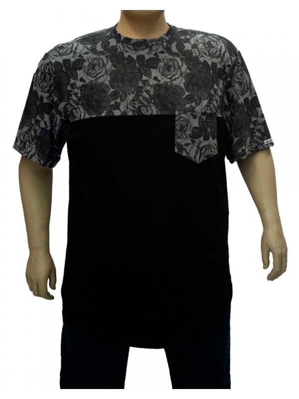 Camiseta Plus Size LongLine Recorte Floral Preto