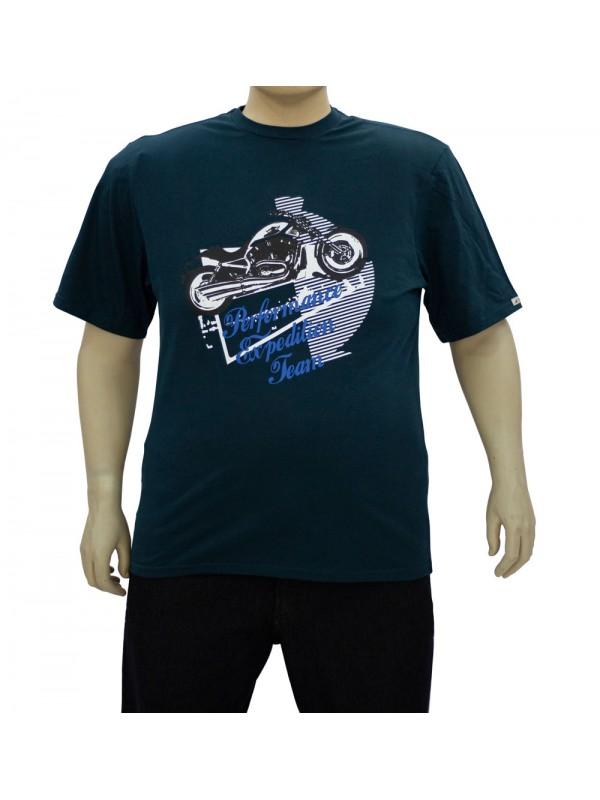 Camiseta Estampada Plus Size Performance Petróleo