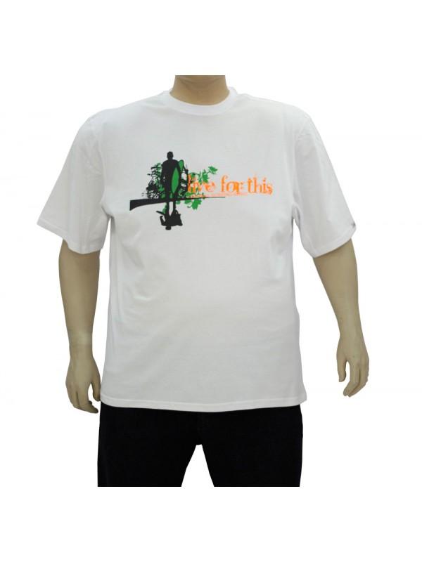 Camiseta Estampada Plus Size Live For This Branca
