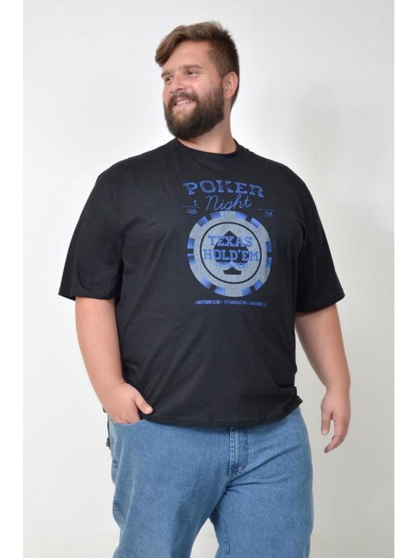 Camiseta Plus Size Poker Preta