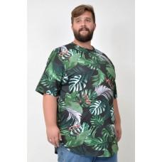 Camiseta Plus Size LongLine Floral Militar