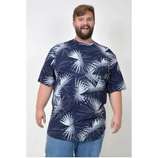 Camiseta Plus Size LongLine Folhagem Marinho