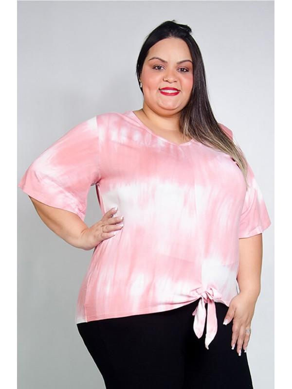 Blusa com Amarração Tie Dye Rosa