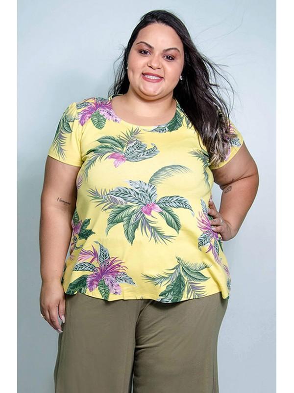 Blusa Modelo Bala de Folhagem Amarela