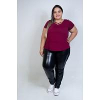 Blusa Com Detalhe de Pedraria Bordô