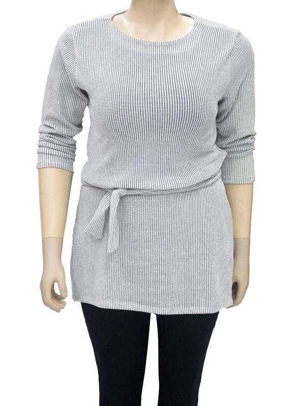 Blusa Tricô Comprida Plus Size Mescla