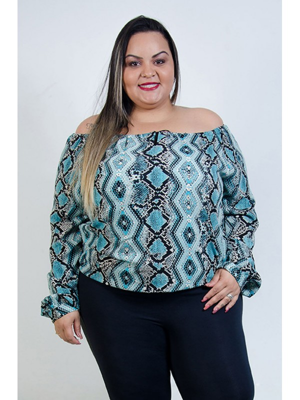 Ciganinha Animal Print Celeste