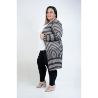 Cardigan Comprido Plus Size Mostarda
