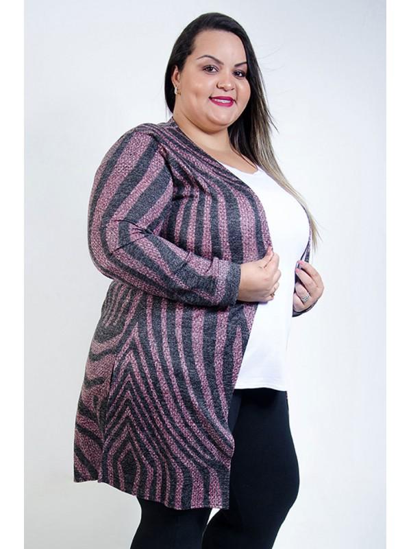 Cardigan Comprido Plus Size Rosa