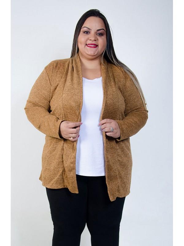 Casaco Lã Plus Size Caramelo