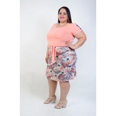 Conjunto Blusa e Saia Plus Size Goiaba