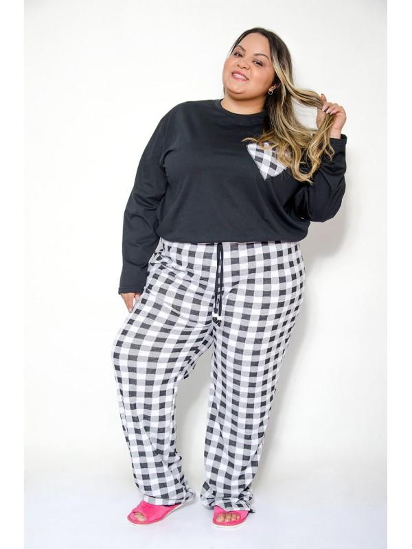 Pijama Feminino Xadrez Plus Size Branco