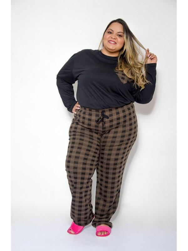 Pijama Feminino Xadrez Plus Size Marrom