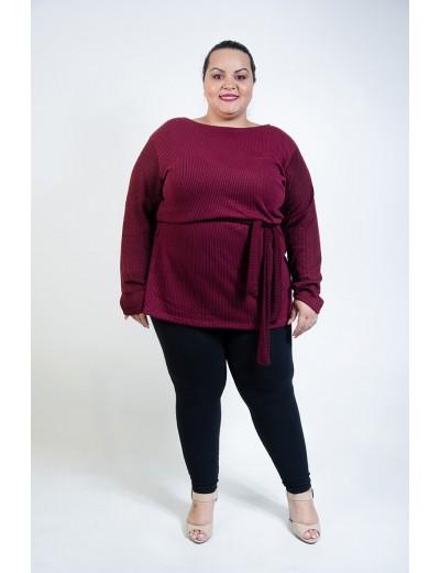 Blusa Tricô Comprida Plus Size Bordô