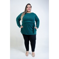 Blusa Tricô Comprida Plus Size Militar