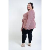 Blusa Tricô Comprida Plus Size Rosê