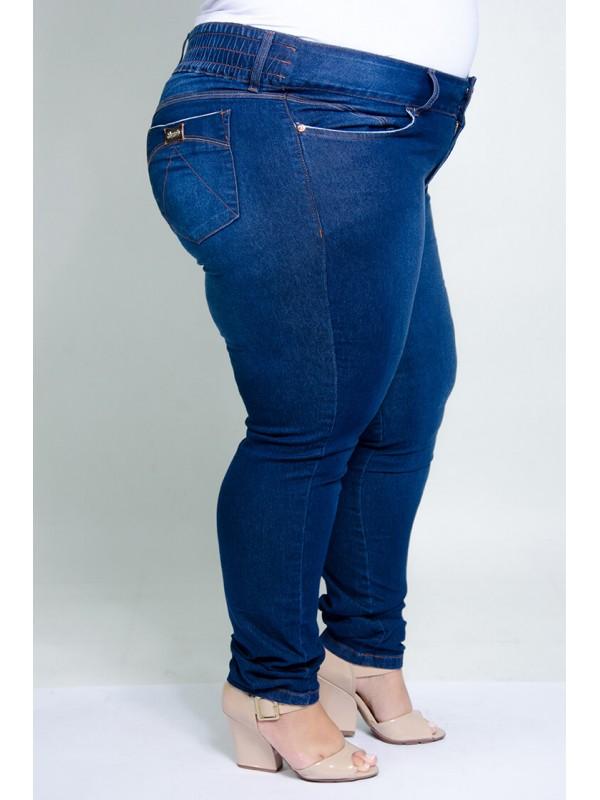 Calça Jeans com Elástico Azul Tradicional