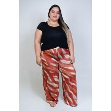 Calça Pantalona Estampada Terra Cota